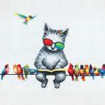 toile-figuratif-Chat-et-oiseaux-sur-le-fil-60x60-cm